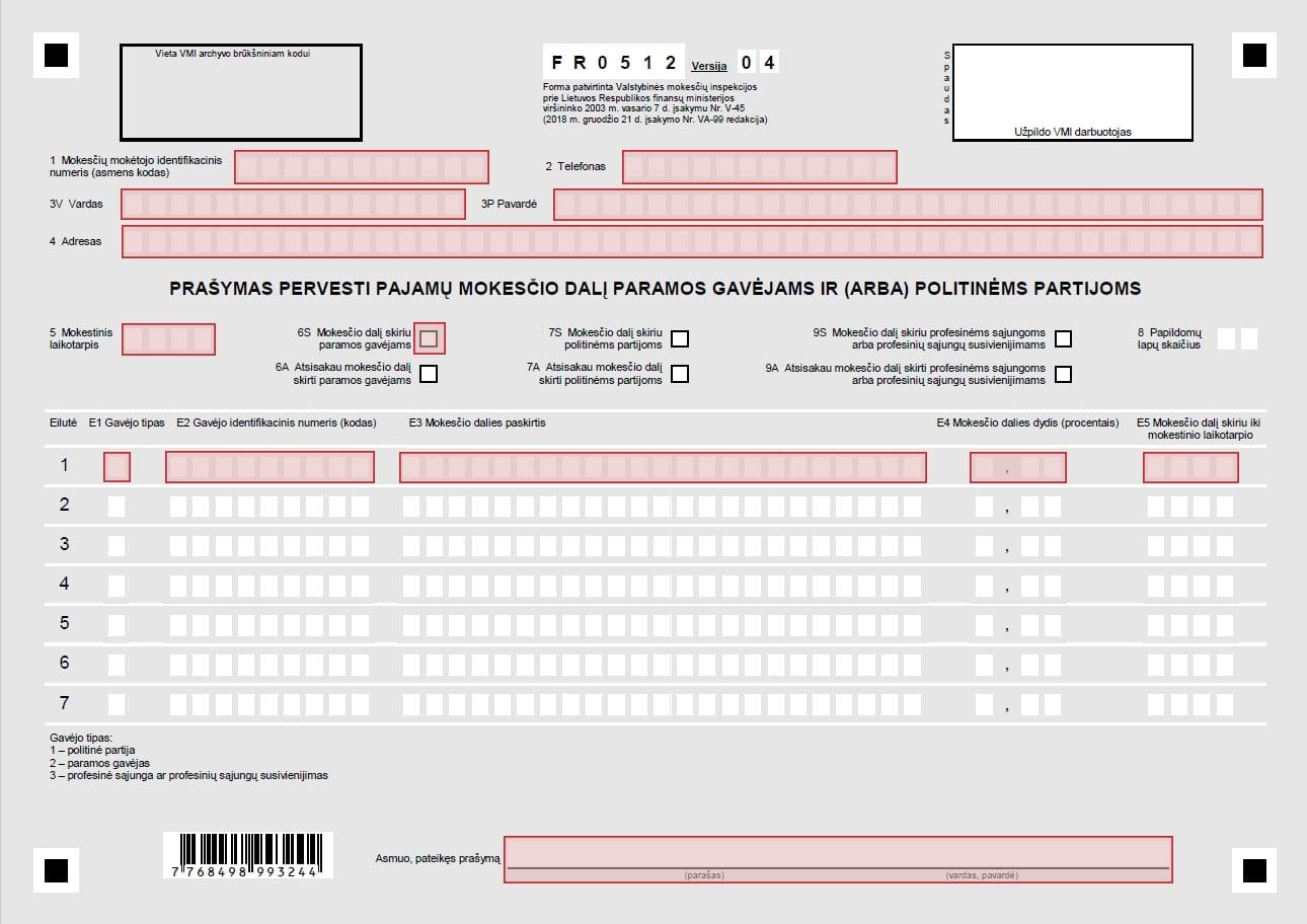 2 proc parama - formos FR0512 pildymas
